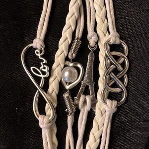 Jewelry - White Leather Love/Friendship Bracelet
